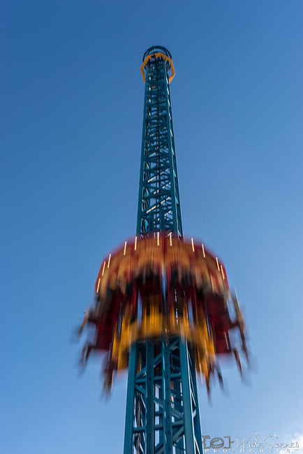 Hair Raiser ride at Luna Park, North Sydney, NSW Australia. <br /> <br /> The ride raises you 50 meters above sea level before being dropped over 80 km&rsquo;s an hour back to earth.