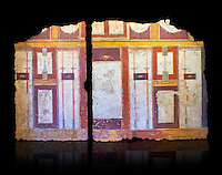 Roman fresco wall decorations of  Room E10 0f La Domus, Rome. Museo Nazionale Romano, 130-140AD ( National Roman Museum), Rome, Italy. Against a black background.<br /> <br />  The white-ground central panel had a figured decoration, already obliterated by repairs carried out in antiquity. In the squares to the sides of the upper area, swathes of white fabric bordered by green leaves and berries are depicted against a purplish red background. The side walls are decorated in a similar symmetrical way; in the squares there are various decorative elements, a stag in flight with a quiver nearby (perhaps an allusion to the myth of Actaeon who was transformed into a stag by Artemis, or, more simply, to hunting), a small head (gorgoneion) contained between volutes.