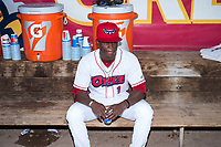 Orem Owlz pitcher Dazon Cole (1) in the dugout before a Pioneer League game against the Ogden Raptors at Home of the OWLZ on August 24, 2018 in Orem, Utah. The Ogden Raptors defeated the Orem Owlz by a score of 13-5. (Zachary Lucy/Four Seam Images)