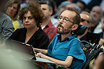 Pablo Echenique, Secretary of Government Action, Institutional Action and Program;  Gloria Elizo, secretary in Podemos of Politices against corruption; in a meeting of Podemos with people in Madrid where they exchange points of view, listen to concerns and draw shared horizons.<br /> October 5, 2019. <br /> (ALTERPHOTOS/David Jar)