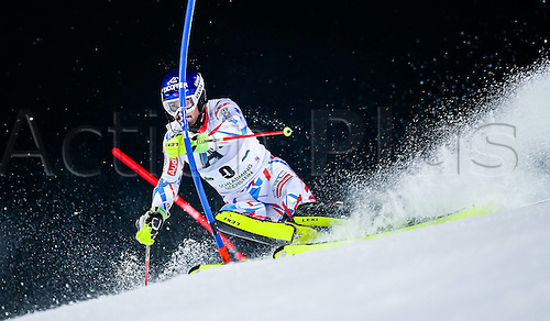 26.01.2016. Schladming, Ausria. FIS Mens Downhill slalom, Schladming World Cup. Jean-Baptiste Grange of France competes during his 1st run of men s Slalom Race of Schladming FIS Ski Alpine World Cup at the Planai in Schladming, Austria on 2016/01/26.