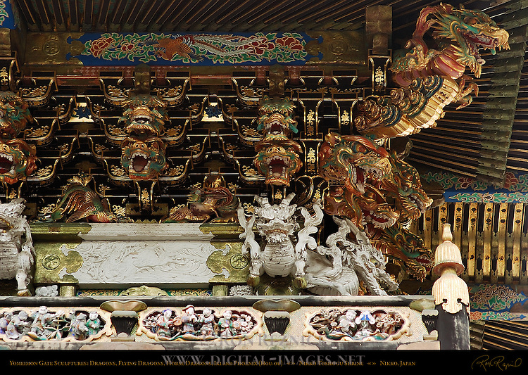 Yomeimon Gate Sculpture Detail Ryu Dragon Hiryu Flying Dragon Iki Dragon with Nostrils Koma-inu Lion Dog Shishi Lion Human Figures Honsha Central Shrine Nikko Toshogu Shrine Nikko Japan