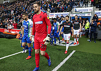 Bolton Wanderers' Remi Matthews, Jason Lowe and Jack Hobbs enter the pitch<br /> <br /> Photographer Andrew Kearns/CameraSport<br /> <br /> The EFL Sky Bet Championship - Wigan Athletic v Bolton Wanderers - Saturday 16th March 2019 - DW Stadium - Wigan<br /> <br /> World Copyright &copy; 2019 CameraSport. All rights reserved. 43 Linden Ave. Countesthorpe. Leicester. England. LE8 5PG - Tel: +44 (0) 116 277 4147 - admin@camerasport.com - www.camerasport.com