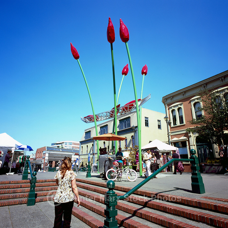 "Victoria, BC, Vancouver Island, British Columbia, Canada - Public Market and Public Art at Bastion Square in Old Town - ""The Commerce Canoe"" (artist Illarion Gallant - 2008)"