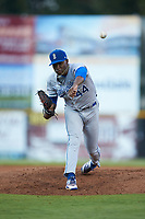 Burlington Royals relief pitcher Marlin Willis (44) delivers a pitch to the plate against the Pulaski Yankees at Calfee Park on September 1, 2019 in Pulaski, Virginia. The Royals defeated the Yankees 5-4 in 17 innings. (Brian Westerholt/Four Seam Images)