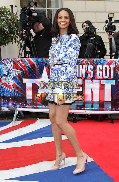 Alesha Dixon.'Britain's Got Talent' Press launch, at the ICA, London, England, .April 11th 2013..full length blue and white print shirt dress hand on hip long sleeve smiling christian louboutin nude beige shoes heels .CAP/ROS.©Steve Ross/Capital Pictures