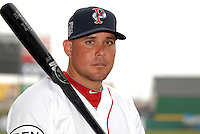 Juan Carlos Linares, outfielder for the Pawtucket Red Sox, poses for a photo during the teams media day on April 5, 2011 at McCoy Stadium in Pawtucket, Rhode Island.  Photo By Ken Babbitt/Four Seam Images