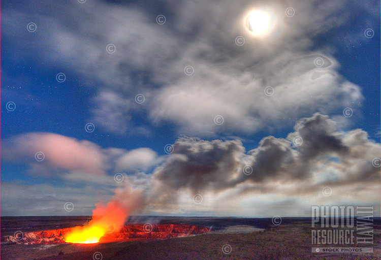Steam and vapor billow from Halema'uma'u crater at Hawai'i Volcanoes National Park, Big Island.