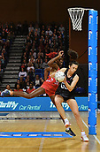7th September 2017, Te Rauparaha Arena, Wellington, New Zealand; Taini Jamison Netball Trophy; New Zealand versus England;  Silver Ferns Kayla Cullen takes a pass with Englands captain Ama Agbeze guarding