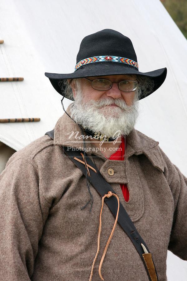 greifenhagen 393-9577 Reenactor of western images fur trapper