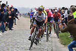Slovakian Champion Peter Sagan (SVK) Bora-Hansgrohe on the front during the 117th edition of Paris-Roubaix 2019, running 257km from Compiegne to Roubaix, France. 14th April 2019<br /> Picture: ASO/Pauline Ballet | Cyclefile<br /> All photos usage must carry mandatory copyright credit (&copy; Cyclefile | ASO/Pauline Ballet)