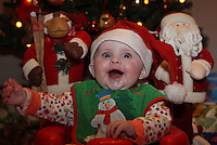 21/12/2010.Lauren Courtney ( 4 months) awaits for the arrival of Santa Claus at her home in Clondalkin, Dublin..Photo: Gareth Chaney