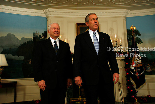 President George W. Bush offers his encouragement to Defense Secretary nominee, Robert M. Gates, in the Diplomatic Reception Room of the White House, Tuesday. Gates begins his Senate confirmation hearing today in Washington, DC.