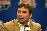 Alabama defensive coordinator Kirby Smart talks with the reporters during BCS Championship Alabama Defensive Press Conference at Marriott Hotel at the Convention Center in New Orleans, Louisiana on January 7th, 2012.