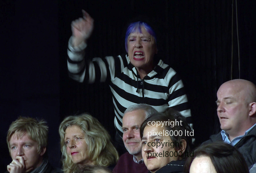 BBC Question Time:<br /> Russell Brand goes for Nigel Farage<br /> <br /> Crowd gets involved with man in front row supporting him and woman at back disagreeing.<br /> <br /> <br /> <br /> <br /> Pic supplied by Pixel 8000 Ltd