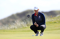 Euphemie Rhodes (ENG) on the 7th green during Round 3 Matchplay of the Women's Amateur Championship at Royal County Down Golf Club in Newcastle Co. Down on Friday 14th June 2019.<br /> Picture:  Thos Caffrey / www.golffile.ie<br /> <br /> All photos usage must carry mandatory copyright credit (© Golffile | Thos Caffrey)