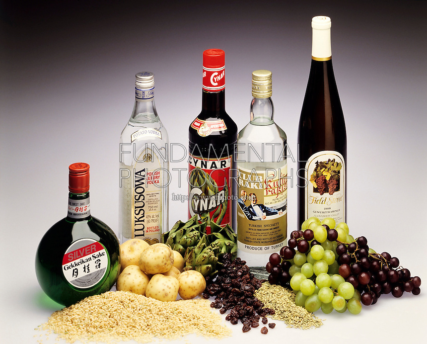 FERMENTATION &amp; DISTILLATION: ALCOHOLIC BEVERAGES<br /> Beverages Made From Grains And Fruit<br /> Left to right: sake from rice, vodka from potatoes, ap&eacute;ritif from artichoke, raki from raisins &amp; aniseed and wine from grapes.