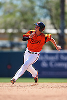GCL Orioles third baseman Branden Becker (2) running the bases during a game against the GCL Twins on August 11, 2016 at the Ed Smith Stadium in Sarasota, Florida.  GCL Twins defeated GCL Orioles 4-3.  (Mike Janes/Four Seam Images)