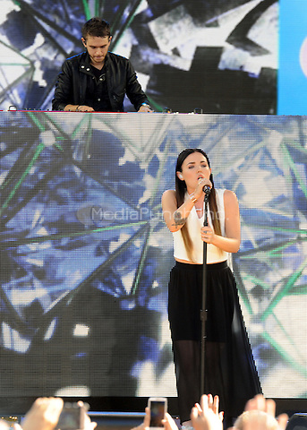 New York, NY- July 18: Zedd and singer Miriam Bryant perform in front of the largest crowd of the summer at Rumsey Playfield on July 18, 2014 as part of the GMA 2014 Summer Concert Series in New York City. Credit: John Palmer/MediaPunch