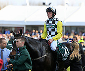 14h April 2018, Aintree Racecourse, Liverpool, England; The 2018 Grand National horse racing festival sponsored by Randox Health, day 3;  David Mullins who finished a close second on Pleasant Company in the Grand National