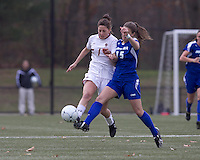 Boston College forward Victoria DiMartino (1) and Hofstra University defender Brooke Bendernagel (15) battle for the ball. Boston College defeated Hofstra University, 3-1, in second round NCAA tournament match at Newton Soccer Field, Newton, MA.