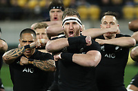 WELLINGTON, NEW ZEALAND - SEPTEMBER 15:  Kieran Read of the All Blacks performs the haka during The Rugby Championship match between the New Zealand All Blacks and the South Africa Springboks at Westpac Stadium on September 15, 2018 in Wellington, New Zealand. Photo by Phil Walter / POOL