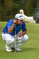 Hideki Matsuyama (JPN) appears to be getting pecked on the head by the duck near the green on 17 during round 4 of the World Golf Championships, Mexico, Club De Golf Chapultepec, Mexico City, Mexico. 2/24/2019.<br /> Picture: Golffile | Ken Murray<br /> <br /> <br /> All photo usage must carry mandatory copyright credit (© Golffile | Ken Murray)