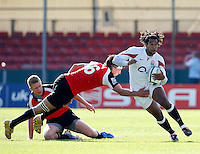 Photo: Richard Lane/Richard Lane Photography. .IRB Junior World Championship. England U20 v Canada U20. 10/06/2008. England's Noah Cato attacks.