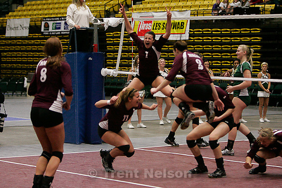 Trent Nelson  |  The Salt Lake Tribune.Morgan takes the 3A state high school volleyball championship, defeating Snow Canyon 3-0 at Utah Valley University in Orem, UT on Friday, October 28, 2011.