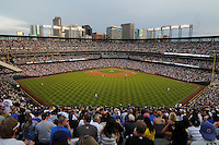 "31 JULY 2010: A general view of Coors Field from the outfield bleacher seats, the ""Rockpile"" during an evening game with Denver skyscrapers in the background during a regular season Major League Baseball game between the Colorado Rockies and the Chicago Cubs at Coors Field in Denver, Colorado.   *****For Editorial Use Only*****"