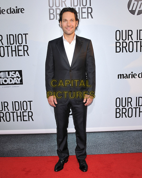 "Paul Rudd.""Our Idiot Brother"" Los Angeles Premiere held at Arclight Cinemas, Hollywood, California, USA..August 16th, 2011.full length suit shirt black white  .CAP/RKE/DVS.©DVS/RockinExposures/Capital Pictures."