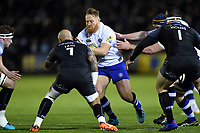 Ross Batty of Bath Rugby takes on the Newcastle Falcons defence. Aviva Premiership match, between Newcastle Falcons and Bath Rugby on February 16, 2018 at Kingston Park in Newcastle upon Tyne, England. Photo by: Patrick Khachfe / Onside Images