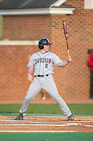 David Daniels (8) of the Davidson Wildcats at bat against the High Point Panthers at Willard Stadium on March 24, 2015 in High Point, North Carolina.  The Panthers defeated the Wildcats 15-2.  (Brian Westerholt/Four Seam Images)