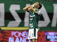 PALMIRA - COLOMBIA, 21-08-2019: Matias Cabrera del Cali reacciona tras perder una opción de gol durante el partido entre Deportivo Cali y Atlético Nacional por la fecha 7 de la Liga Águila II 2019 jugado en el estadio Deportivo Cali de la ciudad de Palmira. / Matias Cabrera of Cali reacts after losing a goal opportunity during match for the date 7 between Deportivo Cali and Atletico Nacional of the Aguila League II 2019 played at Deportivo Cali stadium in Palmira city. Photo: VizzorImage / Gabriel Aponte / Staff