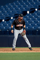 Jupiter Hammerheads first baseman Harrison Dinicola (12) during a Florida State League game against the Tampa Tarpons on July 26, 2019 at George M. Steinbrenner Field in Tampa, Florida.  Tampa defeated Jupiter 2-0 in the first game of a doubleheader.  (Mike Janes/Four Seam Images)