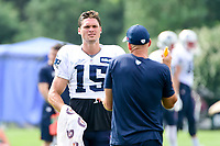 August 2, 2017: New England Patriots wide receiver Chris Hogan (15) talks to wide receivers coach Chad O'Shea at the New England Patriots training camp held at Gillette Stadium, in Foxborough, Massachusetts. Eric Canha/CSM