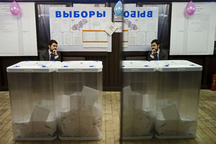 Moscow, Russia, 04/03/2012..An election observer at a polling station in a medical clinic as Russians vote in the Presidential election, which Prime Minister Vladimir Putin is expected to win in the first round.