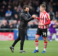 Lincoln City manager Danny Cowley, left, shakes hands with Lincoln City's Harry Toffolo at the end of the game<br /> <br /> Photographer Chris Vaughan/CameraSport<br /> <br /> The EFL Sky Bet League Two - Lincoln City v Grimsby Town - Saturday 19 January 2019 - Sincil Bank - Lincoln<br /> <br /> World Copyright © 2019 CameraSport. All rights reserved. 43 Linden Ave. Countesthorpe. Leicester. England. LE8 5PG - Tel: +44 (0) 116 277 4147 - admin@camerasport.com - www.camerasport.com
