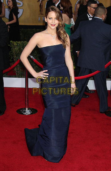 Jennifer Lawrence (wearing Christian Dior).Arrivals at the 19th Annual Screen Actors Guild Awards at the Shrine Auditorium in Los Angeles, California, USA..27th January 2013.SAG SAGs full length strapless dress blue hand on hip navy .CAP/ADM/RE.©Russ Elliot/AdMedia/Capital Pictures.