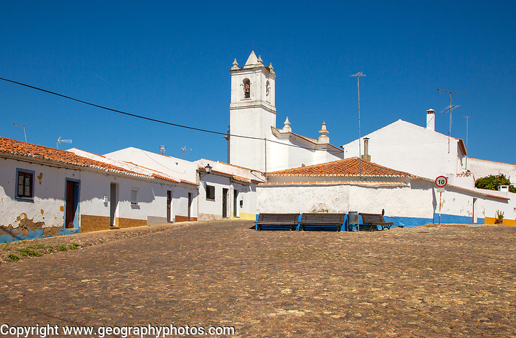 Small traditional rural settlement village with low rise one story houses and cobbled streets, Entradas, near Castro Verde, Baixo Alentejo, Portugal, Southern Europe