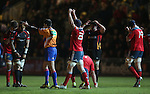 Barry O'Mahony celebrates Munsters victory over the Dragons at the final whistle.<br /> RaboDirect Pro12<br /> Newport Gwent Dragons v Munster<br /> Rodney Parade - Newport<br /> 29.11.13<br /> &copy;Steve Pope-SPORTINGWALES