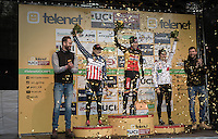 Elite Women's podium ceremony with  Katie Compton 2nd (USA/KFCracing), Sanne Cant 1st (BEL/Enertherm-Beobank) &amp; Alice Maria Arzuffi 3rd (ITA)<br /> <br /> 2016 CX UCI World Cup Zeven (DEU)