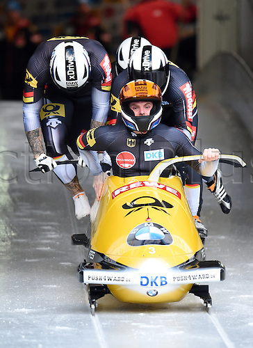 13.12.2015. Koenigssee, Germany. Bobbers Maximilian Arndt, Kevin Korona, Kevin Kuske, and Martin Putze of Germany take off in their four-man bob at the Bobsleigh World Cup in Koenigssee, Germany, 13 December 2015.