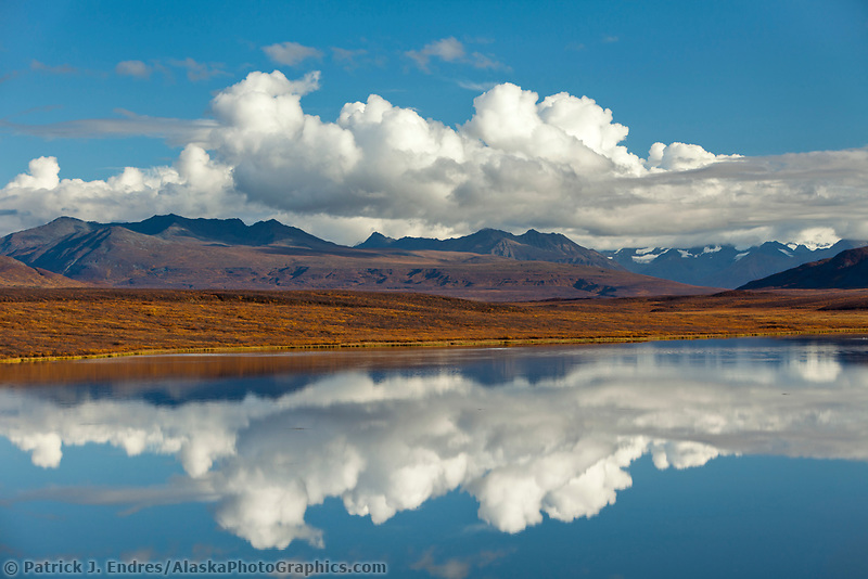 Calm lake in the Alaska Range mountains, along the Denali highway, Interior, Alaska.