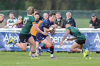 Peter Lydon of London Scottish on the ball during the Greene King IPA Championship match between London Scottish Football Club and Nottingham Rugby at Richmond Athletic Ground, Richmond, United Kingdom on 15 April 2017. Photo by David Horn.