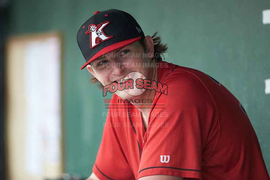 Kannapolis Intimidators starting pitcher Konnor Pilkington (32) sits in the dugout as his team bats during the game against the Rome Braves at Kannapolis Intimidators Stadium on April 7, 2019 in Kannapolis, North Carolina. The Intimidators defeated the Braves 2-1. (Brian Westerholt/Four Seam Images)