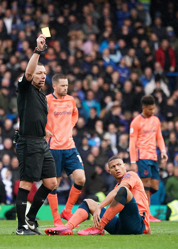 Referee Kevin Friend gives a yellow card to Chelsea's Kurt Zouma<br /> <br /> Photographer Stephanie Meek/CameraSport<br /> <br /> The Premier League - Chelsea v Everton - Sunday 8th March 2020 - Stamford Bridge - London<br /> <br /> World Copyright © 2020 CameraSport. All rights reserved. 43 Linden Ave. Countesthorpe. Leicester. England. LE8 5PG - Tel: +44 (0) 116 277 4147 - admin@camerasport.com - www.camerasport.com