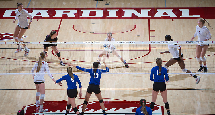 STANFORD, CA - December 1, 2017: Merete Lutz, Morgan Hentz, Meghan McClure, Jenna Gray, Tami Alade, Kathryn Plummer at Maples Pavilion. The Stanford Cardinal defeated the CSU Bakersfield Roadrunners 3-0 in the first round of the NCAA tournament.