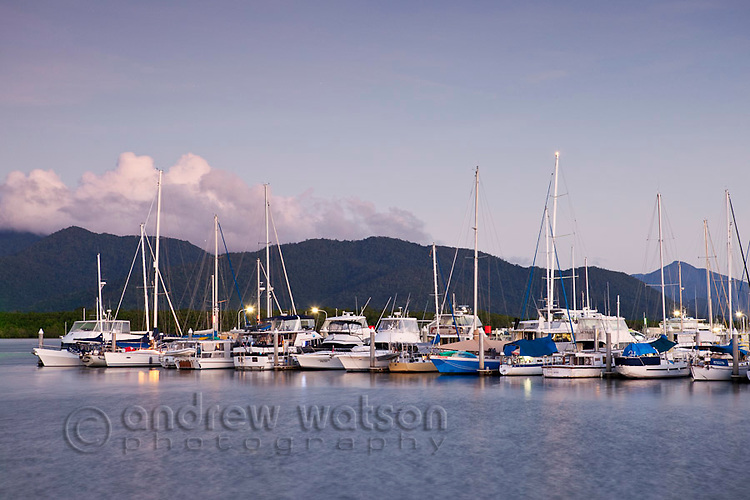 Yachts in the marina at dusk.  Cairns, Queensland, Australia