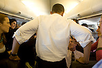 Senator Barack Obama, Democratic presidential candidate, aboard his campaign plane. Briefing reporters on his visit that morning to New Orleans, en route to Omaha, Nebraska, February, 7, 2008